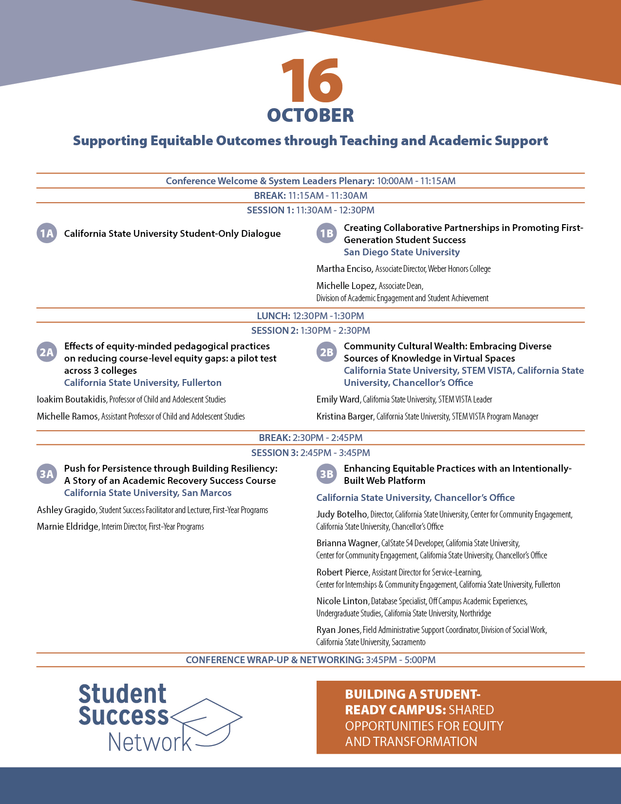 CSU Student Success Network Conference schedule